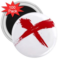 red x 3  Button Magnet (100 pack)