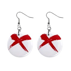 red x Mini Button Earrings