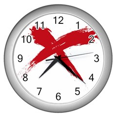 Red X Wall Clock (silver)