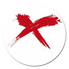 Red X Magnet 5  (round)
