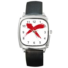 red x Square Leather Watch