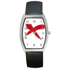 red x Tonneau Leather Watch