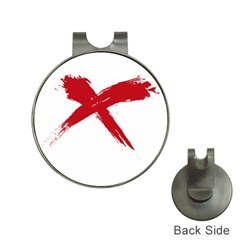 Red X Hat Clip With Golf Ball Marker