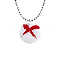 red x Button Necklace