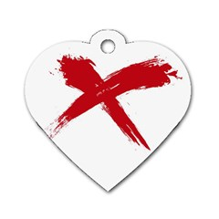 Red X Dog Tag Heart (two Sided)
