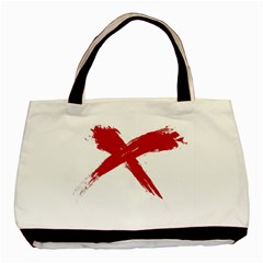 red x Twin-sided Black Tote Bag
