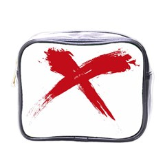 Red X Mini Travel Toiletry Bag (one Side)