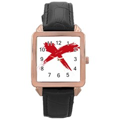 red x Rose Gold Leather Watch