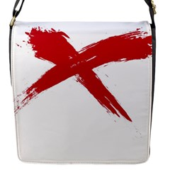 Red X Flap Closure Messenger Bag (small)