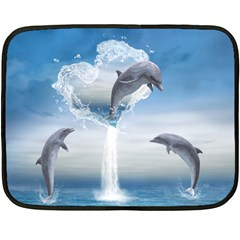 The Heart Of The Dolphins Mini Fleece Blanket (Two-sided)