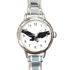 Grunge Bird Round Italian Charm Watch