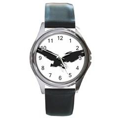Grunge Bird Round Metal Watch (Silver Rim)