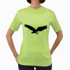 Grunge Bird Womens  T-shirt (Green)