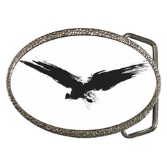 Grunge Bird Belt Buckle (oval)