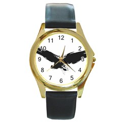 Grunge Bird Round Metal Watch (gold Rim)
