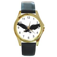 Grunge Bird Round Metal Watch (Gold Rim)