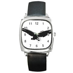 Grunge Bird Square Leather Watch
