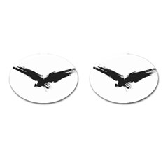 Grunge Bird Cufflinks (Oval)