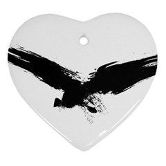 Grunge Bird Heart Ornament (two Sides)