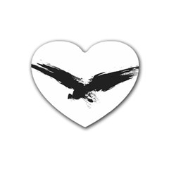 Grunge Bird Drink Coasters 4 Pack (heart)