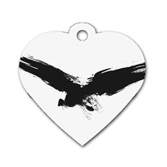 Grunge Bird Dog Tag Heart (Two Sided)