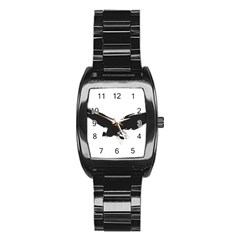 Grunge Bird Men s Stainless Steel Barrel Analog Watch