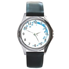 Water Swirl Round Metal Watch (silver Rim)