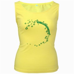 Water Swirl Womens  Tank Top (yellow)