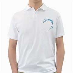 Water Swirl Mens  Polo Shirt (white)