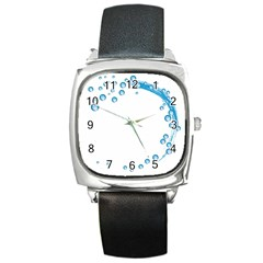 Water Swirl Square Leather Watch