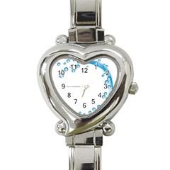 Water Swirl Heart Italian Charm Watch