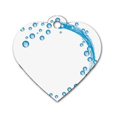 Water Swirl Dog Tag Heart (One Sided)