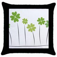 clover Black Throw Pillow Case