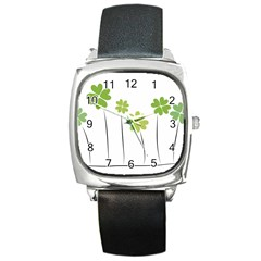 clover Square Leather Watch