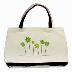 Clover Twin Sided Black Tote Bag