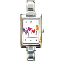 Heart flowers Rectangular Italian Charm Watch