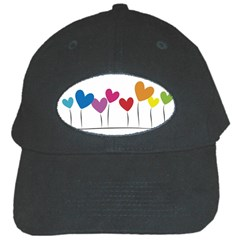 Heart flowers Black Baseball Cap