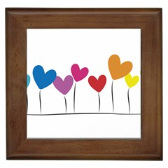 Heart flowers Framed Ceramic Tile