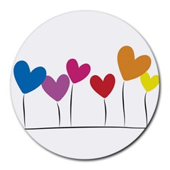 Heart flowers 8  Mouse Pad (Round)
