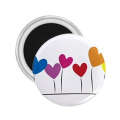 Heart flowers 2.25  Button Magnet