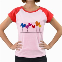 Heart flowers Women s Cap Sleeve T-Shirt (Colored)