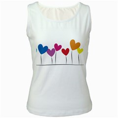 Heart flowers Womens  Tank Top (White)