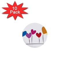 Heart flowers 1  Mini Button (10 pack)