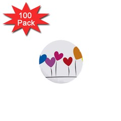 Heart Flowers 1  Mini Button (100 Pack)