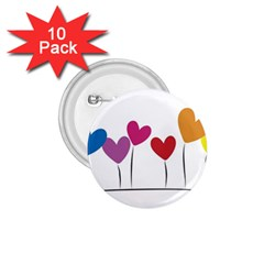 Heart Flowers 1 75  Button (10 Pack)