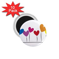 Heart Flowers 1 75  Button Magnet (10 Pack)