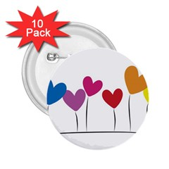 Heart flowers 2.25  Button (10 pack)