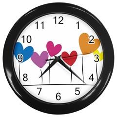 Heart flowers Wall Clock (Black)