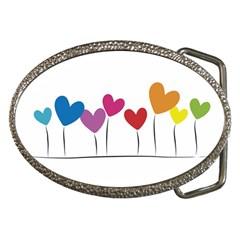 Heart flowers Belt Buckle (Oval)