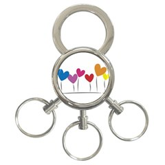 Heart Flowers 3 Ring Key Chain